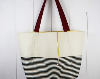 "Tote bag ""of summer"" Métis unbleached canvas and striped cotton canvas"