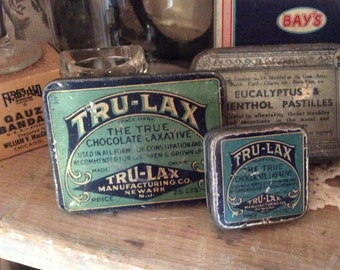 Vintage Tru-Lax Chocolate laxative tablets tin metal box collectible