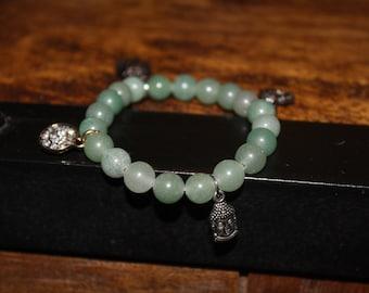Light Green Aventurine Charmed Bracelet