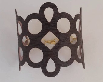 Faux Leather Cuff Bracelet, Espresso Brown, Clasp