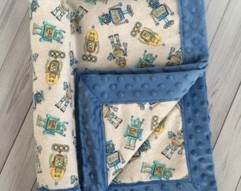 Minky Baby Blanket - Robot Baby Blanket