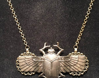 Winged Scarab Beetle Antiqued Brass Necklace
