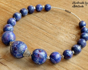Blue necklace Beaded necklace Polymer clay necklace Polymer clay jewelry Jewelry for woman Blue chocker Statement necklace Statement jewelry