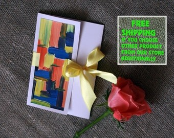 "Handpainted Greeting Card,6,7""x4,7""IN,17X12CM,Abstract"