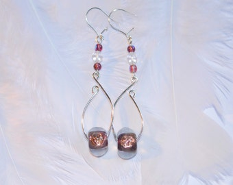 Ear 'roadmap' silver plated and glass beads earrings