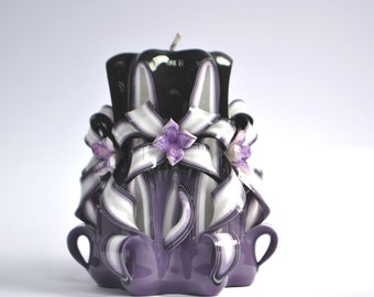 Purple black candle carved candles home decor gift girl Christmas present unique candle flowers dekor