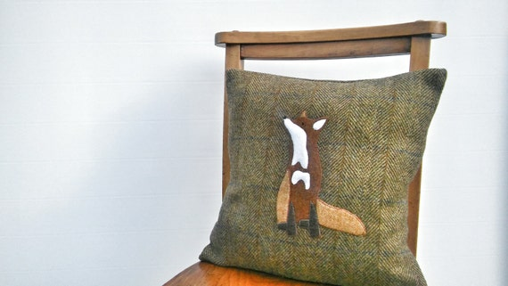 Hand Crafted Harris Tweed fox cushion cover new