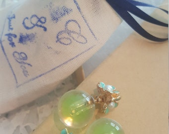 Beautiful Green Globe Glass Earrings with 3 handmade flowers