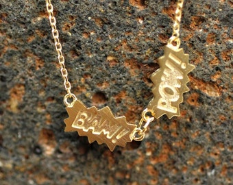 Comic BAM POW Charm Necklace In Gold / Silver