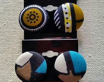 Set of 5 AUTHENTIC ANKARA fabric button earrings - size 1 1/8 inch