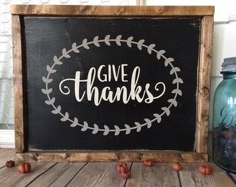 Give Thanks Rustic Home Decor Wooden Sign Autumn Sign  Wall Art Farmhouse Decor