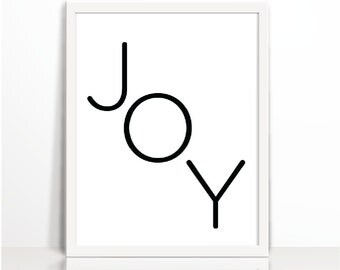 Joy, Positive Quote, Gold, Typography Print, Art Printable, Wall Decor, Positive Thinking, Cubical Decor, Black and white