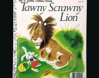 Vintage Little Golden Book Tawny Scrawny Lion by Kathryn Jackson.