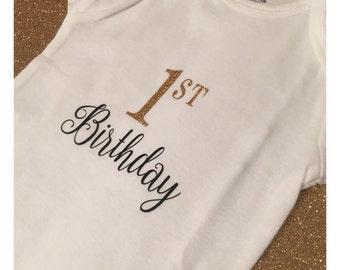 1st Birthday Onesie - Black and Gold Glitter
