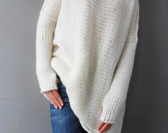 Oversized/Slouchy/Loose knit sweater. Chunky knit women sweater. Alpaca blend sweater.Thumb holes, turtleneck sweater/jumper.