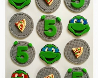 Set of 12 Ninja Turtles Cupcake toppers