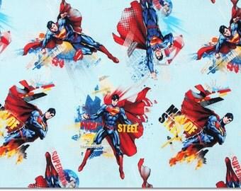 Superman Character Fabric made in Korea, Man of Steel, DC Comics Fabric / Half Yard