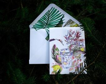 Jump into summer with blank interior, matching envelope, 10,5cm x 14cm, Handmade