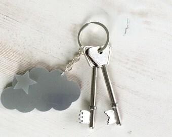 Cloud and star keyring