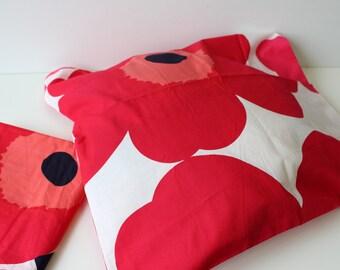 Vintage Marimekko Pillow cases fabric MAIJA ISOLA White Red UNIKKO Maija Isola Finnish Cotton Poppy print /  Finnish Textile