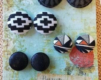 Fabric Button Earrings Set