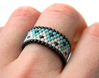 Beaded ring Band ring Hippie ring Peyote ring Seed bead ring Beaded jewelry Beadwoven ring Woven bead ring Seed bead jewelry Beadwork Delica