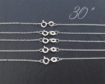 30 Inch Wholesale Sterling Silver Chains, Finished Chains, Bulk Sterling Silver Chain