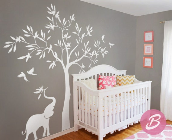 Sticker mural arbre blanc sticker mural avec l phant for Decalque mural