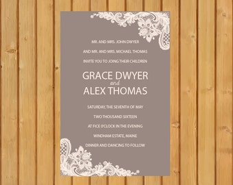 Instant Digital Download, Lace Wedding Invitations, Rustic Wedding, Wedding Invitations, Elegant Wedding Invitation, Lace, Wedding,