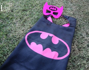 Batgirl Cape & Mask - kids cape, superhero black/pink satin cape w/ velcro closure, halloween costume, dress up, girls birthday party