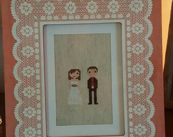 Bride and groom stitch people cross stitch