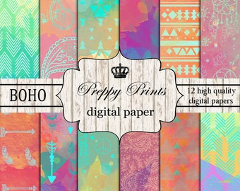 Digital paper pack, Printable paper pack, Scrapbook papers, Digital collage sheets, Boho scrapbook patterns, Digital paper printable