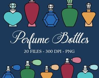 Vintage Perfume Bottles Digital Clipart