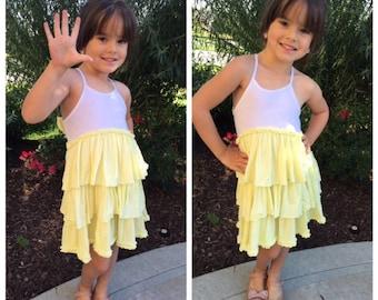 Organic Yellow & White Ruffle Bow Dress