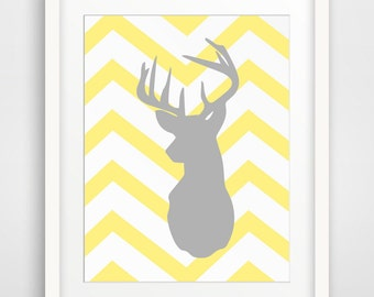 Grey and Yellow Wall Art, Yellow and Grey Decor, Wall Art, Wall Decor, Art Prints, Yellow and Grey, Grey and Yellow, Deer Art, Deer Print