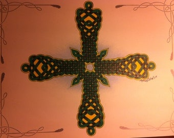 D001 color pencil drawing of traditional celtic cross