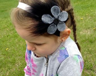 Gray Feathered Flower Headband