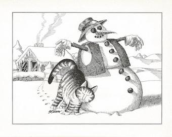 B. KLIBAN CAT Original Vintage Art Print *Snowman Winter Snuggle* High-Quality Decorative Wall Hanging Home Decor Adorable, Comical Art