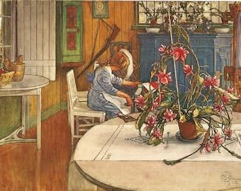 Vintage 1976 Carl Larsson Original Art Print *Interior With Cactus* Beloved Swedish Artist. Plants. Lovely, Colorful Home Decor