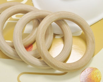 10pcs Round Teething Rings -78mm Large Wooden Ring natural unfinished Wood Teething Rings,wood  ring pendant.