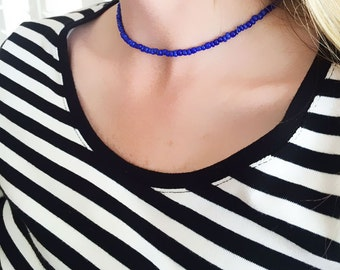 Beaded choker - beaded necklace - blue beaded choker - choker necklace - seed bead necklace - girlfriend gift - blue necklace - blue choker