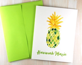 Blank Note Cards, Pineapple Stationary Set, Personalized Stationery, New Home, Realtor Gift, Housewarming Gift, Custom Stationary Set of 10