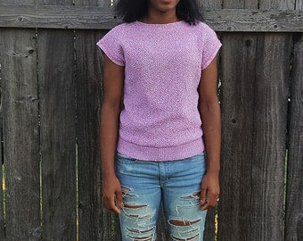 Vintage Pink Knit Sweater, 1980's Pull Over Sweater, Sleeveless Sweater with Button Closure, Size Small