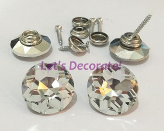 White Color 50PCS/LOT 18MM Diamond Crystal Glass Screws, Sofa Sewing Buttons, Bedboard Decoration Crystal Buttons, Upholstery Buttons.
