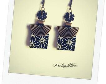 Japanese earrings, printed stars asanoha Japanese fabric