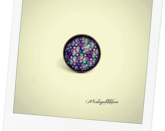 pretty ring, Pink Purple floral cabochon