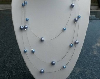 Pale blue bead wire necklace