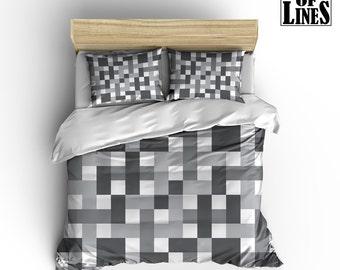 GRID Bedding Duvet, White and Grey bedding, Grey Duvet Cover, grid square pattern Bedding, Pattern Duvet Cover, Modern Bedding, plaid Bed