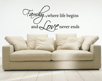 Family Where Life Begins And Love Never Ends Living Room wall decal wall mural available in 8 different sizes and 30 different colors