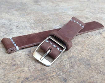 Handmade 18mm Leather Watch Strap with Waxed Thread